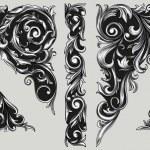 Decorative ornate design elements, vector illustra...