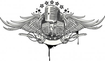 Illustration for Microphone emblem design with stars and wings - Royalty Free Image