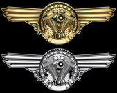 Gold and silver engine emblems
