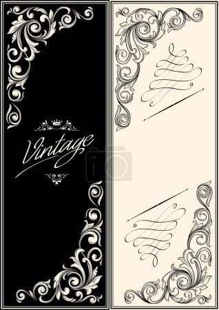 Illustration for Vintage decorative frames set with abstract floral elements - Royalty Free Image