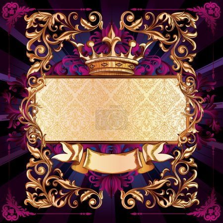 Illustration for Royal vintage banner with crown. ornate decorative design. vector - Royalty Free Image