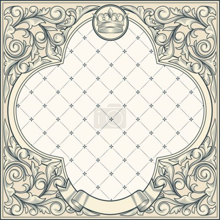 Illustration for Vintage ornate frame, background with banner, ribbon, crown - Royalty Free Image