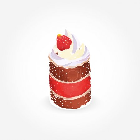 Delicious cake with creamy topping and fresh strawberry isolated on white background.