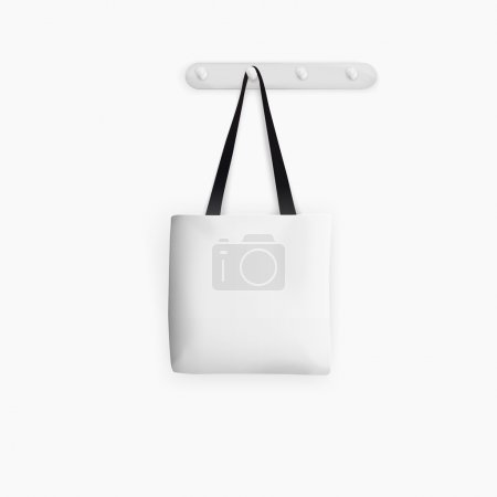 Blank white Tote Bag on white background