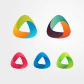 Triangle abstract logo set Elements for business and icons