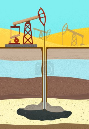 Oil Rig with soil layers