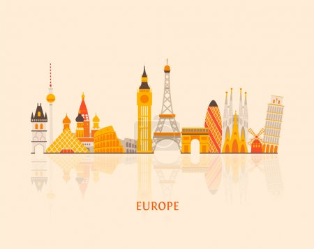Illustration for Colorful city silhouette, vector graphics, eps 10 - Royalty Free Image