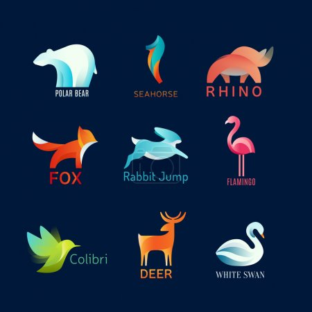 Animals Birds vector logo set