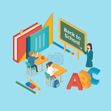 Flat 3d isometric education, Back to School, vector illustration