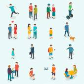 Isometric 3d vector people Set of woman and man