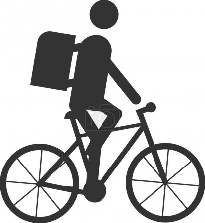 Illustration for Bicycle courier badge. Delivery service. The image is intended for applications and websites. Vector flat illustration isolated on a white background. - Royalty Free Image