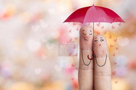 Photo pour Joyeuse Saint-Valentin et 8 Mars série d'amour créatif. Doigts peints amoureux - image libre de droit