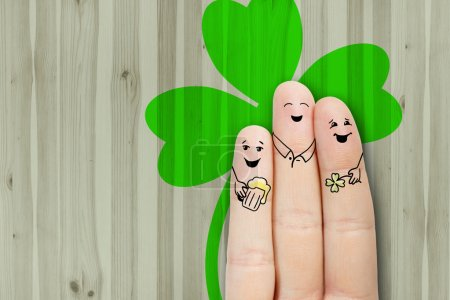 Photo for Saint Patrick's Day creative and funny male friendship series. Painted fingers concept - Royalty Free Image