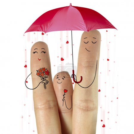Photo for Conceptual family finger art. Stock Image. Happy Mother's Day, birthday and 8 March creative and funny love series. Painted fingers family concept - Royalty Free Image