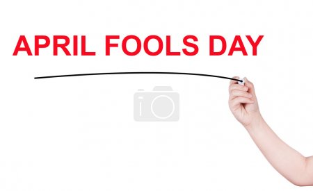 April fools day word write on white background