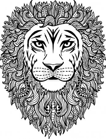 Illustration for Black and white hand drawn abstract lion vector illustration with patterned mane - Royalty Free Image