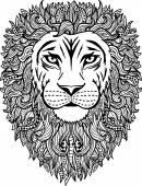 Hand drawn abstract lion illustration
