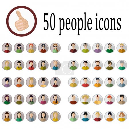 Illustration for 50 people icons of various nationalities in different styles - Royalty Free Image