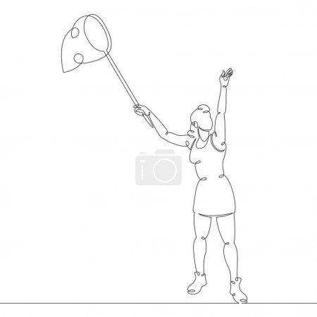 Illustration for Scientist naturalist entomologist with butterfly net in hand catching butterflies. One continuous drawing line, logo single hand drawn art doodle isolated minimal illustration. - Royalty Free Image