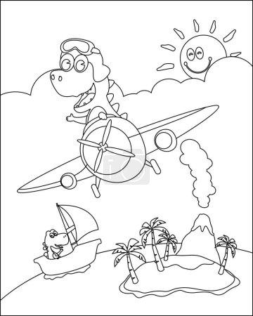 Vector illustration of dinosaur flies in the sky o...