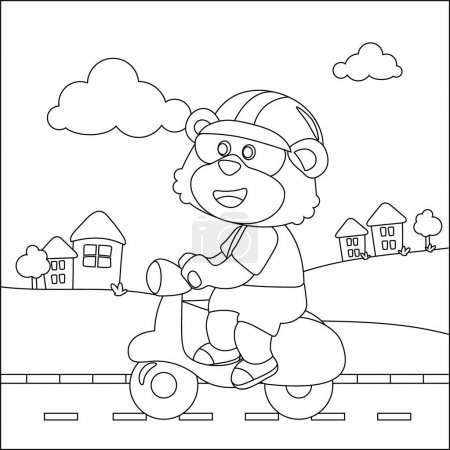 Illustration for Cute little lion Riding scooter, funny animal cartoon,vector illustration. Childish design for kids activity colouring book or page. - Royalty Free Image