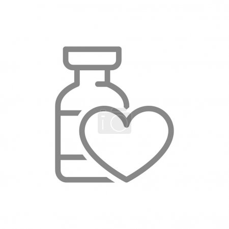 Illustration for Medical ampoule with heart line icon. Vaccine, serum, vaccination information, immunization symbol isolated on white background. - Royalty Free Image