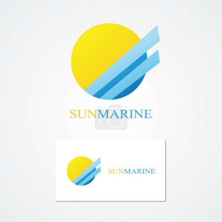 Logo combination of a sun and sea.