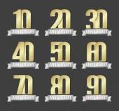 Vector set of anniversary golden signs