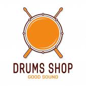 Vector drum icon with sticks Drum school logo
