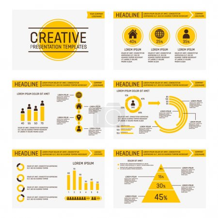 Illustration for Vector template for presentation slides with graphs and charts - Royalty Free Image