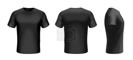 T-shirt front, back and side view