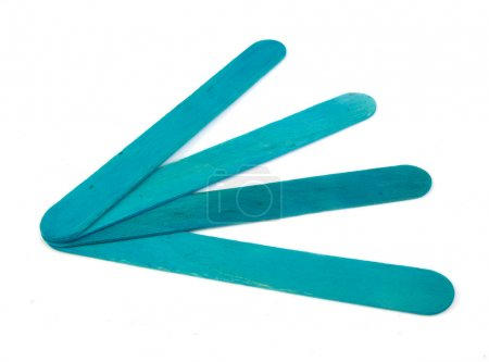 Six popsicle bluish sticks for arts and crafts on a white background