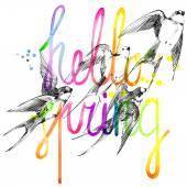 Swallow. Swallow pencil sketch. Swift flight. Hello Spring.