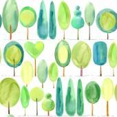 Les. Zelený Les akvarel. Strom. Zelený strom akvarel. Zelený strom bezešvé vzor. Lesní vzor bezešvé