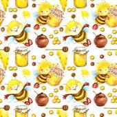 Honey seamless pattern with hand drawn cute bee. Honey bee seamless pattern. Cute Bee illustration. Honey pattern background. Sweet pattern. Yammy seamless pattern.
