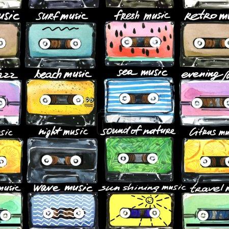 Photo pour Cassettes rétro. Illustration de cassettes audio. Musique de l'heure d'été. Illustration de l'aquarelle de cassettes. Cassette audio. Collection rétro cassette. Conception de T-Shirt - image libre de droit