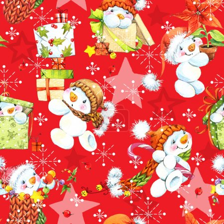 Cute Snowman. Snowman seamless pattern. Christmas seamless pattern. Christmas wrapping paper background. Watercolor Snowman set illustration.