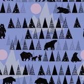 Forest seamless pattern. Wildlife pattern. Grizzly Bear. Abstract forest pattern.  Hand drawn forest background. Wild Bear. Alaska park. Vintage forest background. Retro design graphic element