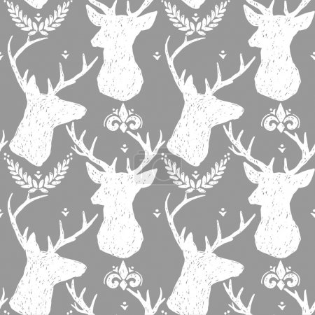 Vintage graphic seamless pattern.Graphic deer. Animals pattern. Seamless pattern with Deer. Deer illustration.  Forest Deer. Deer silhouette.