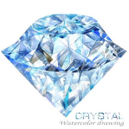 Crystal. Watercolor Crystal drawing.