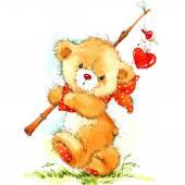 Valentinstag. Hintergrund für die Karte mit einem niedlichen Teddy-Bär und roten Herzen. Aquarell Zeichnung