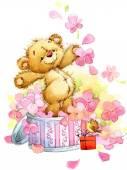 Teddy bear.background per bambini compleanno saluti festival.watercolor illustracion