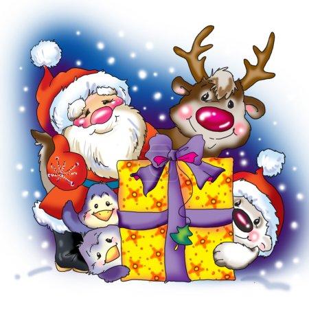 New Year. Santa Claus congratulates and celebrates. decorative b