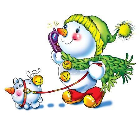 Snowman congratulates and celebrates. decorative background series