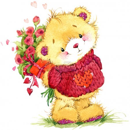 Valentine day. background for card with a cute teddy bear and red heart . watercolor drawing