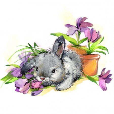 Valentine day. Funny bunny. background for congratulations. wate