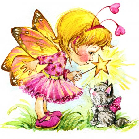 Children Valentine's Day. Fairy background. watercolor drawing