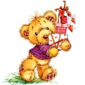 Valentinstag. Teddybär. Spielzeug für Feier-Festival. Wasser