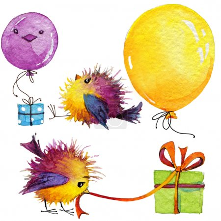 Kid celebration.  funny bird and decoration background for congr