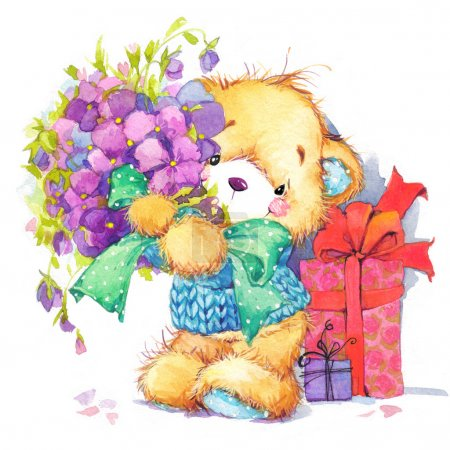 Teddy bear.Set of birthday greetings festival.watercolor